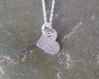 Heart Necklace - Valentine Necklace - Small Hammered Heart - Sterling Silver