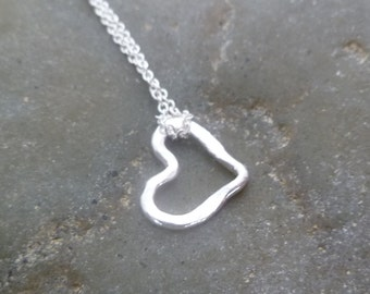 Heart Necklace - Tiny Handmade Hammered Heart - Fine Silver  LITTLE HEART