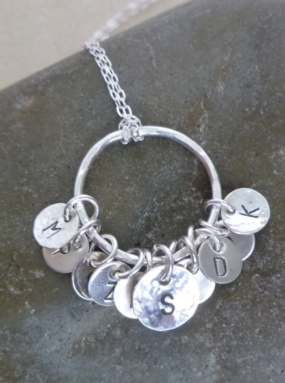 Custom Order for Jenny - Mother Necklace -  Fine Silver Circle Ring with Multi Charm - Multiple Initial Discs