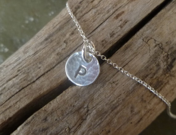 Initial Charm Necklace - One Tiny 8mm Initial Disc - Solid Sterling Silver - Hand Stamped - Finish Options  - SINGLE 8MM INITIAL Necklace