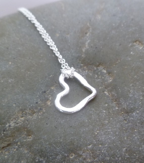 Heart Necklace - Tiny Handmade Hammered Heart - Fine Silver  LITTLE HEART