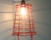 Red egg basket hanging lamp pendant NO WIRING REQUIRED