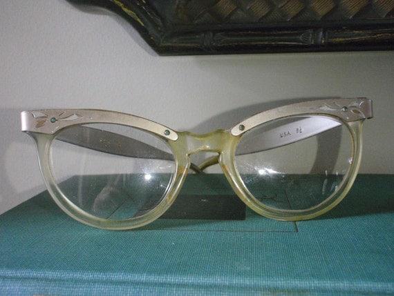 1950s Cateye ornate etched aluminum glasses