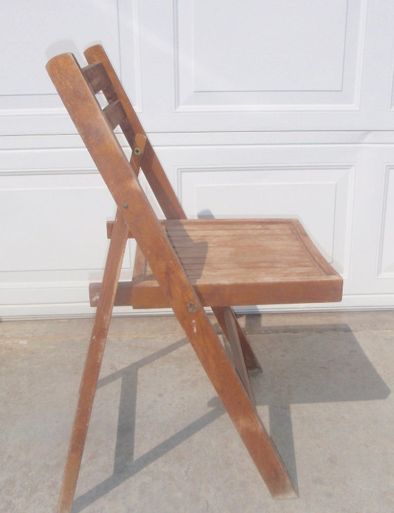 Vintage folding wooden chair stamped ROMANIA