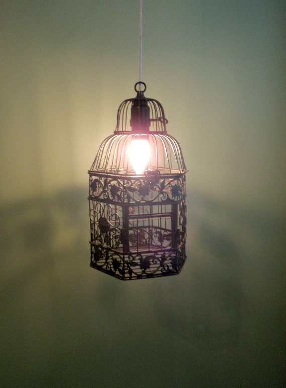 Anthropologie Inspired Hanging Birdcage Lamp NO WIRING REQUIRED