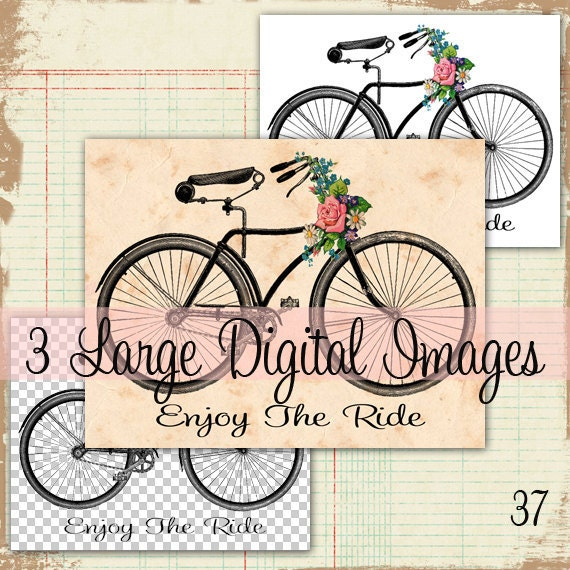 Vintage Bicycle with Vintage Wild Flowers Roses LARGE Digital Image Download Sheet Transfer To Totes Pillows Tea Towels Shirts