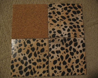 Set of 4 tile coasters Leopard Animal Print