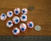 Ten Blue Bloodshot 18mm Eyeballs (RESERVED for WillWonka) special order