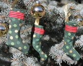 CLEARANCE SALE Christmas Stocking Ornaments- Set of 3