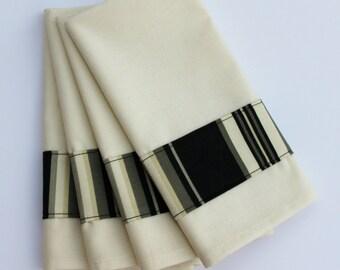 SALE Cloth Napkins - 17 x 17 Elegant Black and White Striped Banding on Ivory Napkin - Set of 4