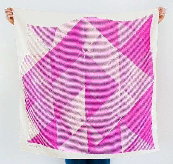 "Folded Paper Furoshiki Pink. ""Furoshiki"" Japanese multi wrapping cloth and scarf."
