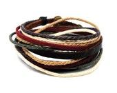 2 laps around  Multi-colored cotton ropes Dark brown Leather Wrap Bracelet