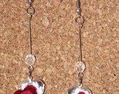 Red over Clear Heart's Dangle Earrings - Now 2 for Five Dollars