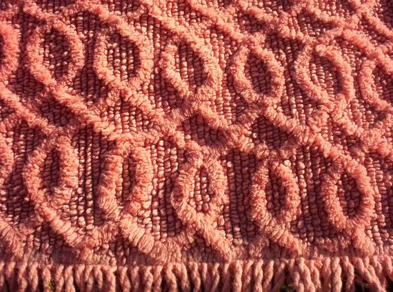 Vintage Chenille Rug, Med. Pink Circular Design - Large Size