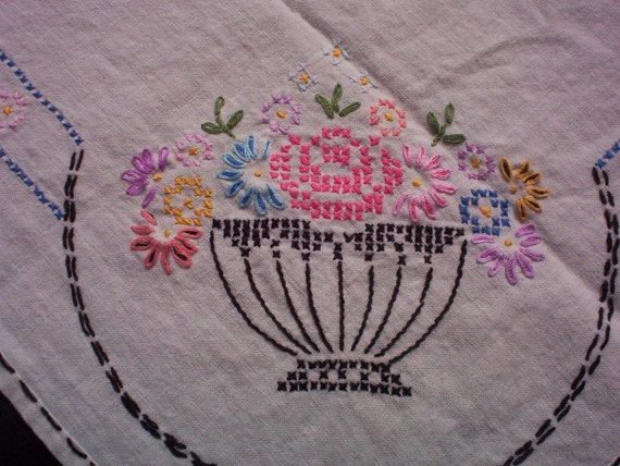 Floral Baskets Hand Stitched Table Covering