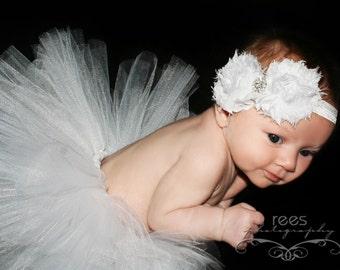 All white baby tutu and headband, birthday tutu set, photo prop