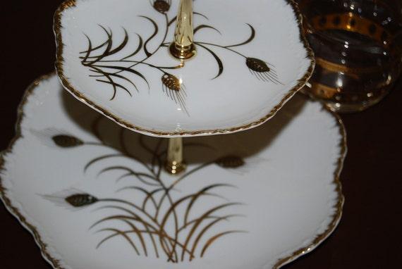 2 Tier Serving Plate Wheat Design
