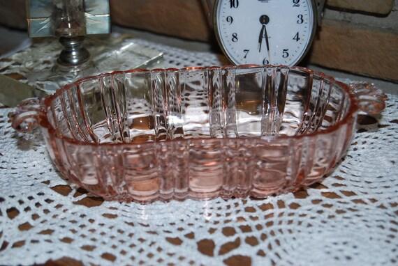 Pink Depression Old Cafe Glass Butter Dish