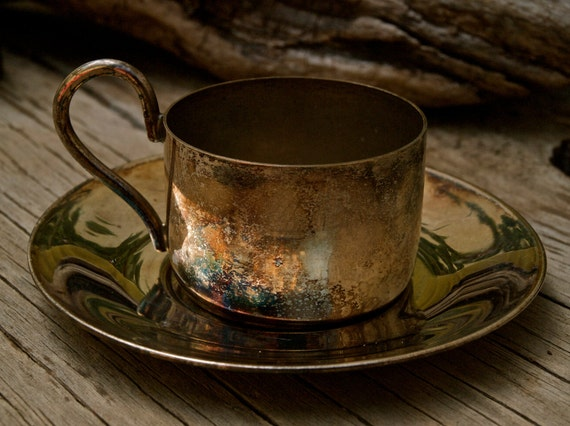 Silver Plate Espresso Cup and Saucer