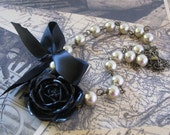 Black Rose Necklace with Gold Glass Pearl Beads and Black Satin Ribbon
