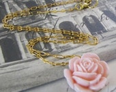 Light Peach Rose Necklace on Dainty Gold Plated Chain