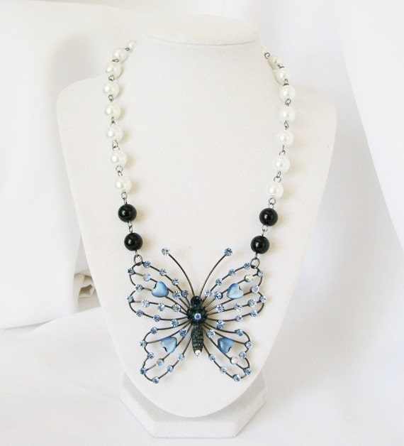 Butterfly Necklace - Blue Butterfly Statement Necklace - Bridal Necklace  w/matching earrings