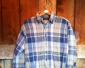 SALE Vintage Summertime Heathered Flannel Shirt, Men's M