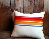 Southwestern Serape Pendleton Pillow, Wool Blanket Fabric, Striped
