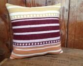 SALE Striped Throw Pillow, Pendleton Blanket Wool Fabric