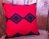 Pendleton Pillow, Native American Wool Blanket Fabric, Red, Large