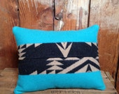 Turquoise Throw Pillow, Pendleton Native American Blanket Fabric