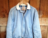 Vintage LEVIS Jean Jacket, Plaid Flannel Lining, Mens M, Corduroy Collar