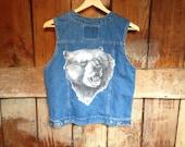 Vintage Levis Denim Vest, Ladies S, Grizzly Bear Back Patch