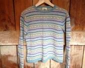 Vintage LL Bean Knit Fair Isle Sweater, Ladies M