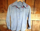 SALE Vintage 70's Embroidered Chambray Shirt, Ladies S, Western Cut