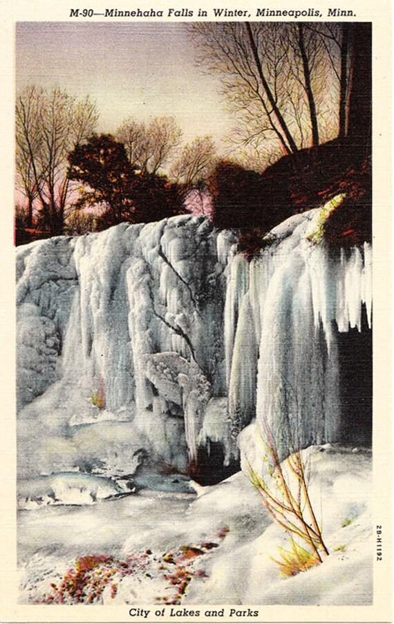 Minnehaha Falls in Winter Minneapolis Minnesota Linen Postcard Unused