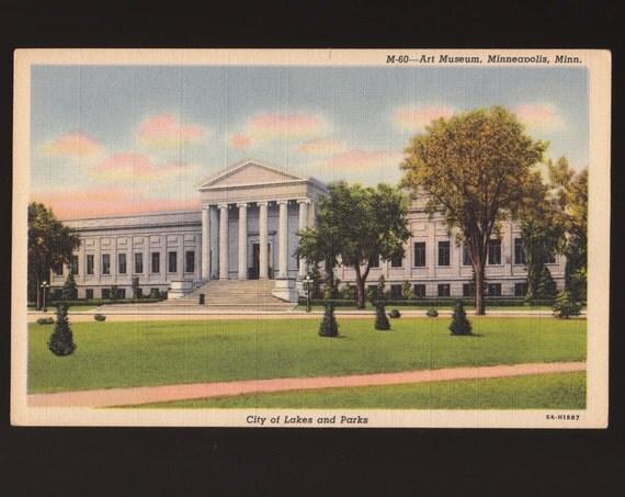 Vintage Minneapolis Institute of Arts MIA Minneapolis Minnesota Linen Postcard Unused