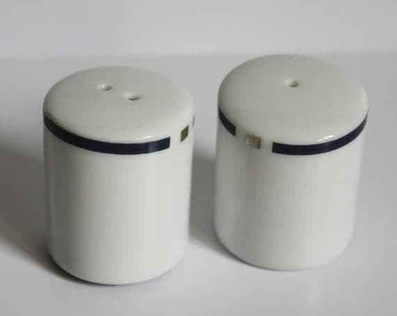 American Airlines First Class Salt and Pepper Shakers Blue and White Ceramic