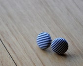 classic stripes fabric button earrings- buy 3 get 1 bonus