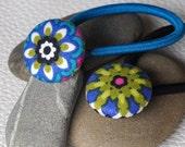Set of 2 flower fabric hair ties