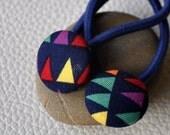 Triangle rainbow buntings pair ponytail hair ties