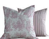 """Throw Pillows (2 Covers): 2-18x18"""" . Toile and Stripes . Pink, Grey and White . Garden of Pinks and Grays Collection"""