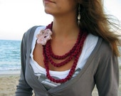 Magenta Fiber crochet Necklace/ Scarf/ with light antique pink/vanilla Flower