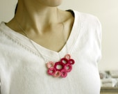 Crochet Necklace Circles in Pink Magenta Rose - Wearable Crochet Art Pendant