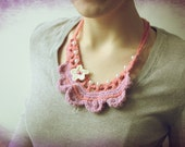 Pastel Pink and Violet Crochet Necklace with Cream Flower- Lace Necklace -Eco friendly - Fashion 60's