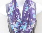 Purple and Aqua INFINITY Chiffon Scarf  Fabric for Sari