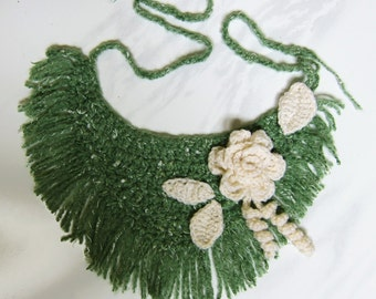 Forest Green and Ivory Crochet Necklace with Fringes - Lace Scarf - Fashion 60's