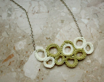 Circles crochet Necklace in Green and White with chain - Wearable art Crochet Pendant