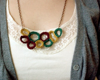 Aztec Necklace in Mustard Yellow, Green and Burgundy with copper chain - Wearable Art - Crochet Pendant