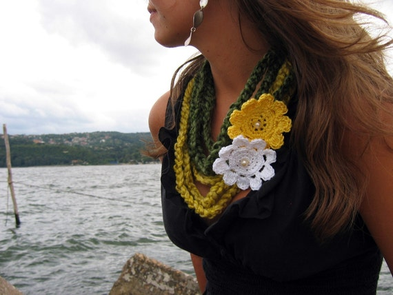 Crochet Necklaces - 2 pcs - Discounted Price in Green and Yellow with Yellow and White Flowers....scarf